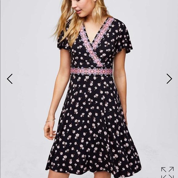 20777fc67d Loft border floral wrap dress